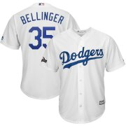 Wholesale Cheap Los Angeles Dodgers #35 Cody Bellinger Majestic 2019 Postseason Home Official Cool Base Player Jersey White