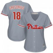 Wholesale Cheap Phillies #18 Didi Gregorius Grey Road Women's Stitched MLB Jersey