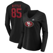 Wholesale Cheap Women's San Francisco 49ers #85 George Kittle NFL Black Super Bowl LIV Bound Halfback Player Name & Number Long Sleeve V-Neck T-Shirt