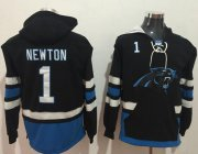 Wholesale Cheap Nike Panthers #1 Cam Newton Black/Blue Name & Number Pullover NFL Hoodie