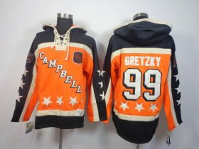 Wholesale Cheap Oilers #99 Wayne Gretzky Orange All-Star Sawyer Hooded Sweatshirt Stitched NHL Jersey