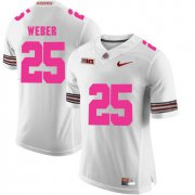 Wholesale Cheap Ohio State Buckeyes 25 Mike Weber White 2018 Breast Cancer Awareness College Football Jersey