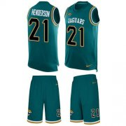 Wholesale Cheap Nike Jaguars #21 C.J. Henderson Teal Green Team Color Men's Stitched NFL Limited Tank Top Suit Jersey