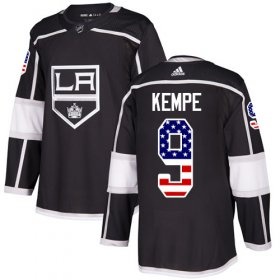 Wholesale Cheap Adidas Kings #9 Adrian Kempe Black Home Authentic USA Flag Stitched Youth NHL Jersey