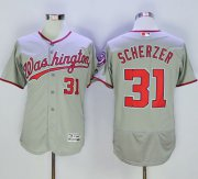Wholesale Cheap Nationals #31 Max Scherzer Grey Flexbase Authentic Collection Stitched MLB Jersey