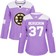 Wholesale Cheap Adidas Bruins #37 Patrice Bergeron Purple Authentic Fights Cancer Women's Stitched NHL Jersey