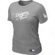 Wholesale Cheap Women's Los Angeles Dodgers Nike Short Sleeve Practice MLB T-Shirt Light Grey