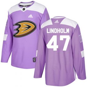 Wholesale Cheap Adidas Ducks #47 Hampus Lindholm Purple Authentic Fights Cancer Stitched NHL Jersey