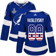 Cheap Adidas Lightning #88 Andrei Vasilevskiy Blue Home Authentic USA Flag Women's 2020 Stanley Cup Champions Stitched NHL Jersey