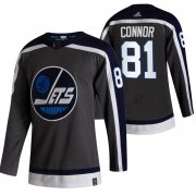 Wholesale Cheap Winnipeg Jets #81 Kyle Connor Black Men's Adidas 2020-21 Reverse Retro Alternate NHL Jersey