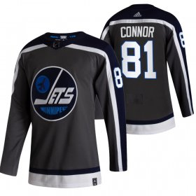 Wholesale Cheap Winnipeg Jets #81 Kyle Connor Black Men\'s Adidas 2020-21 Reverse Retro Alternate NHL Jersey