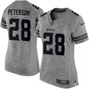 Wholesale Cheap Nike Vikings #28 Adrian Peterson Gray Women's Stitched NFL Limited Gridiron Gray Jersey
