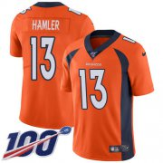 Wholesale Cheap Nike Broncos #13 KJ Hamler Orange Team Color Men's Stitched NFL 100th Season Vapor Untouchable Limited Jersey