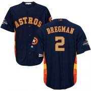 Wholesale Cheap Astros #2 Alex Bregman Navy Blue 2018 Gold Program Cool Base Stitched Youth MLB Jersey