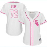 Wholesale Cheap White Sox #72 Carlton Fisk White/Pink Fashion Women's Stitched MLB Jersey