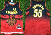 Wholesale Cheap Men's Atlanta Hawks #55 Dikembe Mutombo 1990 Red Hardwood Classics Soul Swingman Throwback Jersey