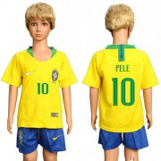 Wholesale Cheap Brazil #10 Pele Home Kid Soccer Country Jersey