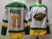 Wholesale Cheap Men's Minnesota Wild #11 Zach Parise 2021 White Retro Stitched NHL Jersey