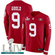 Wholesale Cheap Nike 49ers #9 Robbie Gould Red Super Bowl LIV 2020 Team Color Men's Stitched NFL Limited Therma Long Sleeve Jersey