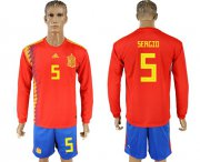 Wholesale Cheap Spain #5 Sergio Red Home Long Sleeves Soccer Country Jersey