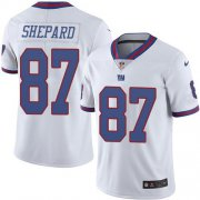 Wholesale Cheap Nike Giants #87 Sterling Shepard White Men's Stitched NFL Limited Rush Jersey