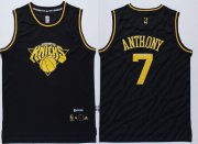 Wholesale Cheap New York Knicks #7 Carmelo Anthony Revolution 30 Swingman 2014 Black With Gold Jersey