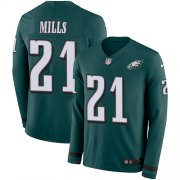 Wholesale Cheap Nike Eagles #21 Jalen Mills Green Team Color Men's Stitched NFL Limited Therma Long Sleeve Jersey