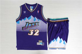 Wholesale Cheap Jazz 32 Karl Malone Purple Hardwood Classics Jersey(With Shorts)