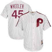 Wholesale Cheap Philadelphia Phillies #45 Zack Wheeler Majestic Cooperstown Collection Cool Base Player Jersey White
