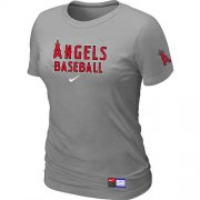 Wholesale Cheap Women's Los Angeles Angels Nike Short Sleeve Practice MLB T-Shirt Light Grey