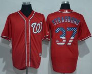 Wholesale Cheap Nationals #37 Stephen Strasburg Red USA Flag Fashion Stitched MLB Jersey