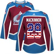Wholesale Cheap Adidas Avalanche #29 Nathan MacKinnon Burgundy Home Authentic USA Flag Women's Stitched NHL Jersey