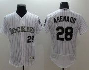Wholesale Cheap Rockies #28 Nolan Arenado White Strip Flexbase Authentic Collection Stitched MLB Jersey