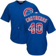 Wholesale Cheap Cubs #40 Willson Contreras Blue Team Logo Fashion Stitched MLB Jersey