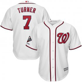 Wholesale Cheap Washington Nationals #7 Trea Turner Majestic 2019 World Series Champions Home Official Cool Base Bar Patch Player Jersey White