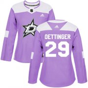Cheap Adidas Stars #29 Jake Oettinger Purple Authentic Fights Cancer Women's Stitched NHL Jersey