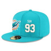 Wholesale Cheap Miami Dolphins #93 Ndamukong Suh Snapback Cap NFL Player Aqua Green with White Number Stitched Hat