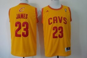 Wholesale Cheap Cleveland Cavaliers #23 LeBron James Revolution 30 Swingman Yellow Jersey