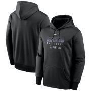 Wholesale Cheap Men's Colorado Rockies Nike Black Authentic Collection Therma Performance Pullover Hoodie
