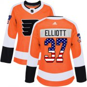 Wholesale Cheap Adidas Flyers #37 Brian Elliott Orange Home Authentic USA Flag Women's Stitched NHL Jersey