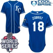 Wholesale Cheap Royals #18 Ben Zobrist Blue Alternate 2 Cool Base W/2015 World Series Patch Stitched MLB Jersey