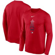 Wholesale Cheap Men's Los Angeles Angels Nike Red Authentic Collection Legend Performance Long Sleeve T-Shirt