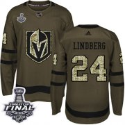 Wholesale Cheap Adidas Golden Knights #24 Oscar Lindberg Green Salute to Service 2018 Stanley Cup Final Stitched Youth NHL Jersey