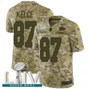 Wholesale Cheap Nike Chiefs #87 Travis Kelce Camo Super Bowl LIV 2020 Men's Stitched NFL Limited 2018 Salute To Service Jersey