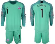 Wholesale Cheap Chile #1 C.Bravo Green Goalkeeper Long Sleeves Soccer Country Jersey