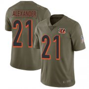 Wholesale Cheap Nike Bengals #21 Mackensie Alexander Olive Men's Stitched NFL Limited 2017 Salute To Service Jersey