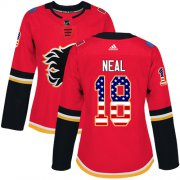 Wholesale Cheap Adidas Flames #18 James Neal Red Home Authentic USA Flag Women's Stitched NHL Jersey