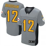 Wholesale Cheap Nike Steelers #12 Terry Bradshaw Grey Shadow Men's Stitched NFL Elite Jersey