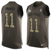 Wholesale Cheap Nike Dolphins #11 DeVante Parker Green Men's Stitched NFL Limited Salute To Service Tank Top Jersey