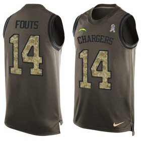 Wholesale Cheap Nike Chargers #14 Dan Fouts Green Men\'s Stitched NFL Limited Salute To Service Tank Top Jersey